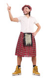 The man in scottish skirt isolated on white Royalty Free Stock Photography