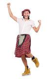 The man in scottish skirt isolated on white Stock Photography