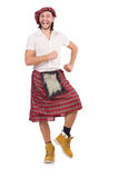 Man in scottish skirt isolated on white Royalty Free Stock Photography