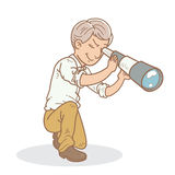 Man scouting using scope Stock Image