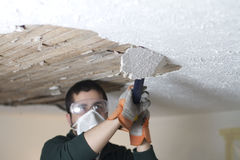 Scraping Ceiling Close Up Stock Photo