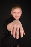 Man with scratch on his hand Royalty Free Stock Image