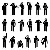 Man Scratching Body Itchy Parts Clipart. A set pictogram representing man scratching different parts of the body from head to toe Royalty Free Stock Photos