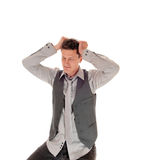 Man scratching his head. Royalty Free Stock Image