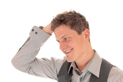 Man scratching his head. Royalty Free Stock Images