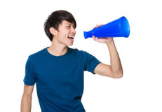 Man scream with megaphone. Isolated on white background Royalty Free Stock Photos
