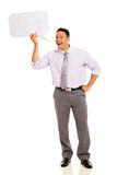 Man screaming in bubble. Mid age man screaming in speech bubble  on white background Royalty Free Stock Photo