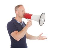Man Screaming Into Bullhorn While Pointing Away Royalty Free Stock Photos