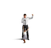 Man screaming at cheerful dancing woman Royalty Free Stock Photos