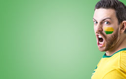 Man screaming on green background Stock Photography