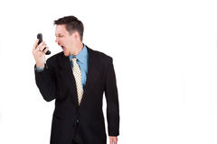 Man screaming at his phoen Stock Images