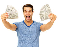Man Screaming While Holding Fanned Us Paper Currency Royalty Free Stock Image