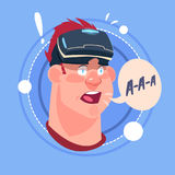 Man Screaming Male Emoji Wearing 3d Virtual Glasses Emotion Icon Avatar Facial Expression Concept. Vector Illustration Royalty Free Stock Image