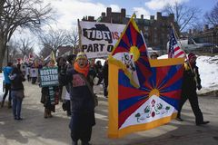 Man screaming during march. 3-10-13 Boston Tibetan Community march on a beautiful sunny winter day through the Boston Common. In the period between March 2011 Stock Photography