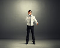 Man screaming at megaphone Royalty Free Stock Photography