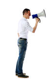 Man screaming on the megaphone Stock Photos
