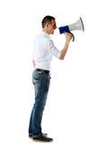 Man screaming on the megaphone Stock Photos
