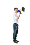 Man screaming on the megaphone Stock Photo