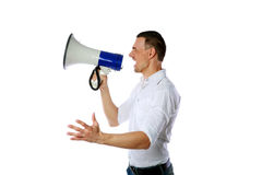 Man screaming on the megaphone Stock Photography