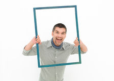 Man screaming out of frame Royalty Free Stock Photography