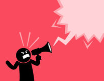 Man screaming out loud with a megaphone. He is declaring and announcing something important. He is full of spirit, emotion, and clenching his fist while Royalty Free Stock Photography
