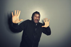 Man screaming and raising hands up Royalty Free Stock Photography