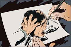 Man screams in horror. Stock illustration. stock illustration