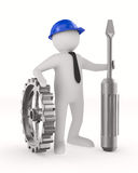 Man with screw driver on white background. 3D image Stock Photography