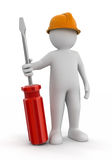 Man and Screwdriver (clipping path included) Royalty Free Stock Photography