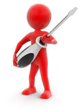 Man and Screwdriver (clipping path included) Stock Images