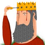 Man screws a crown in his head Royalty Free Stock Image