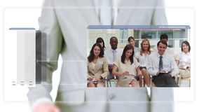 Man scrolling business meeting videos Stock Photography