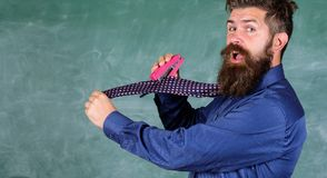 Man scruffy use stapler dangerous way. Hipster teacher formal wear necktie holds stapler. School stationery. Teacher. Bearded man with pink stapler chalkboard stock image