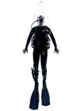 Man scuba diver diving silhouette isolated Stock Photos