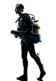 Man scuba diver diving silhouette isolated Royalty Free Stock Photo