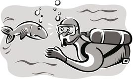 Man with scuba gear that meets a fish. Man with scuba gear that meets a fish  in vector Stock Photos
