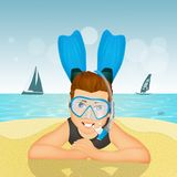 Man with scuba mask and fins. Funny illustration of man with scuba mask and fins Royalty Free Stock Images
