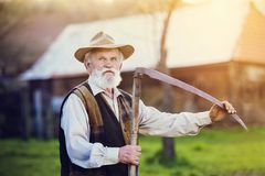 Man with scythe. Old farmer with scythe taking a break from mowing the grass Stock Photography