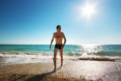 Man and sea Stock Photography