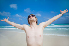 Man in the sea. Young man swimming in the sea Royalty Free Stock Photography