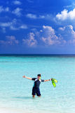 Man in the sea. With the equipment for a snorkeling Stock Photography