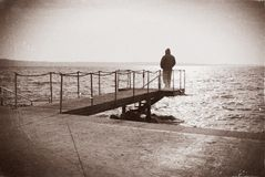 The man and the sea Stock Image