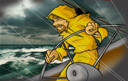 Man at sea. Man in raincoat fighting rough seas Royalty Free Stock Photo
