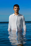 Man in sea waters Stock Photos