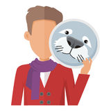 Man with Seal Mask Flat Design Vector Illustration. Man character in red sweater with seal mask in hand flat vector illustration isolated on white background Royalty Free Stock Photo