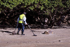 Man Search for Metals with Metal Detector Royalty Free Stock Image