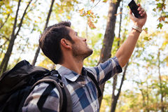 Man searching connection on the phone Stock Image