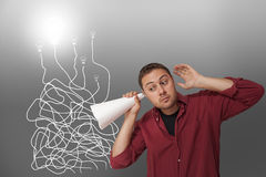 Man searching for ideas Royalty Free Stock Photo