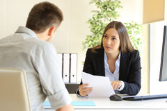 Man searching job during an interview stock photography