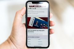 Man searching for tickets to FIFA World Cup Russia 2018 on the smartphone.  Royalty Free Stock Image